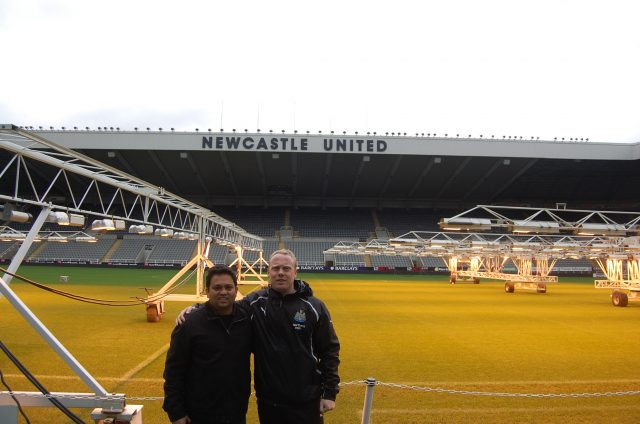 Jehan Kothary (left) with Craig Dean, Former Head of Player Development at Newcastle United FC.